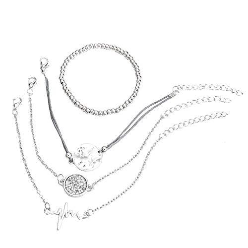 Cosanter 4 Piezas Set Plata Simple Colgante Pulsera Pulsera Mujer Plata Regalo de Glamour Pulsera Tejida Multicapa