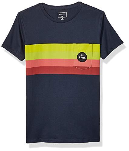Quiksilver Boys' Big Seasons Stripe Short Sleeve Youth TEE, Navy Blazer, M/12