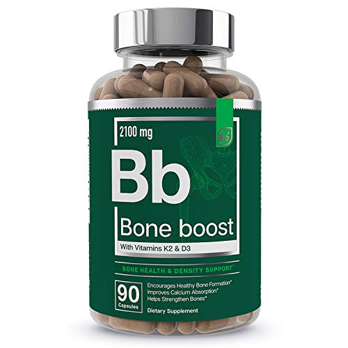 Bone Boost Bone Health Supplement - Calcium, Vitamin D3, K2, Cissus Quadrangularis   Essential Elements for Bone Strength - 90 Capsules (30 Day Supply)