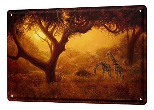 qidushop Panneaux métalliques en métal pour décoration d'intérieur ou de Pendaison de crémaillère Motif Girafe
