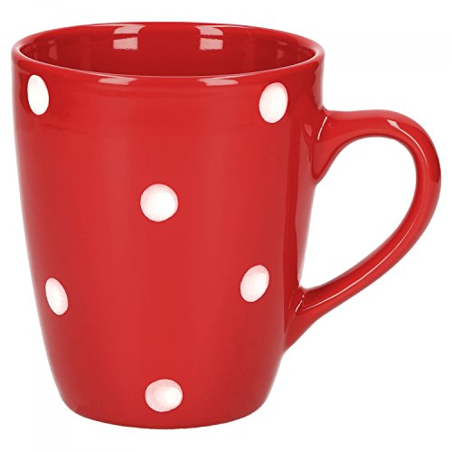 Van Well Emily Kaffeebecher rot-weiß gepunktet, 390 ml, Steingut, Tasse, Jumbotasse