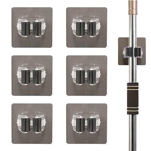 MEZOOM 6 pcs Selbstklebend Besenhalterung Besen Mop Halter Ohne Bohren Werkzeug Halterung Schnell Organisieren für Küche Badezimmer Garage Garten(8 x 8 cm)
