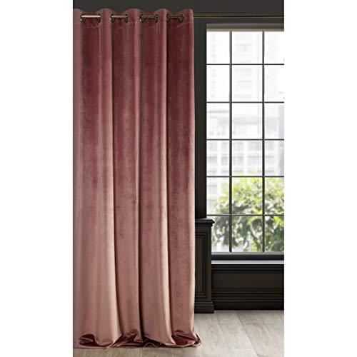 Eurofirany Cortina Ria Velvet de Terciopelo Rosa Oscuro, 1 Unidad, Suave, 10 Ojales, Elegante,, glamuroso, Dormitorio, salón, salón, Color Rosa Oscuro, 140 x 250 cm