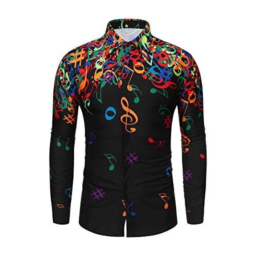 Xmiral Shirt Herren Musiknote Muster Lässig Langarm Hemd Top Umlegekragen Knopf Shirts Beiläufig Langärmliges Bluse Sweatshirts Camping Outdoor Tops T-Shirts(Schwarz,L)