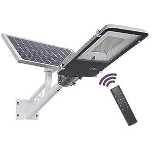 SUPERU Farola Solar LED para Exteriores, Atardecer hasta el Amanecer IP65 Impermeable Temporización Farola Solar Atenuación de 5 Niveles con Poste, Control Remoto (100Watt)