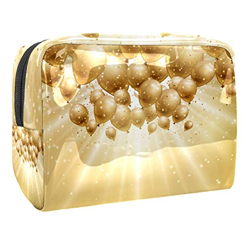 Cosmetic Organizer Golden balloon light Travel Makeup Beauty Bag Portable Toiletry Bag Multifunction for Women Girls 18.5x7.5x13cm