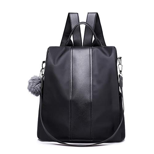 Segater® Frauen Rucksack Geldbörse Wasserdichter Nylon Rucksack für den Diebstahlschutz Schultertaschen 2 Wege umwandelbarer Rucksack Schultaschen mit Haarkugel-Anhänger Schwarz