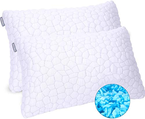 2 Pack Cooling Bed Pillows for Sleeping Adjustable Gel Shredded Memory Foam Pillow Hypoallergenic Pillows for Side Back Stomach Sleepers Adjustable Loft Bamboo Bed Pillow with Removable Cover Queen