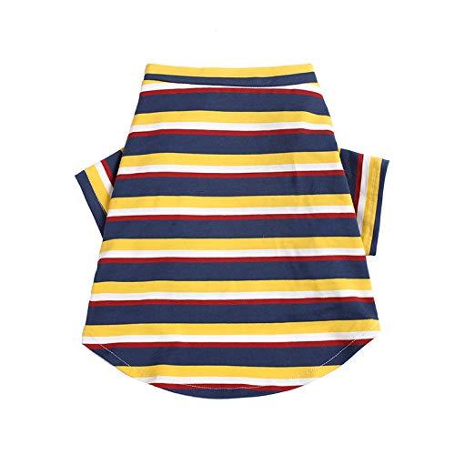 JIUI Hond Warm Jassen Mode Tide merk Teddy vest Huisdier Kat Kleine hond T-shirt Lente en zomer Dunne sectie, M, Yellow stripe