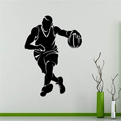 Pegatinas de pared para lectura en el aula, para habitaciones de niños Jugador de baloncesto Correr Graphi Murales Regalo Arte Obra de arte Adorno para niños Niños extraíbles Vinilo Oficina 58x83cm