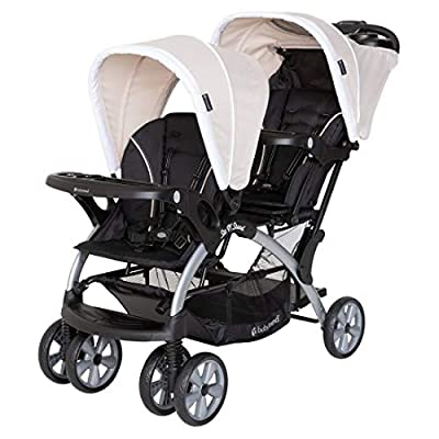 Baby Trend Sit N' Stand Compact Easy Fold Unisex Toddler Baby Double Tandem Stroller Convertible Travel System for Newborns and Toddlers, Modern Khaki from Baby Trend