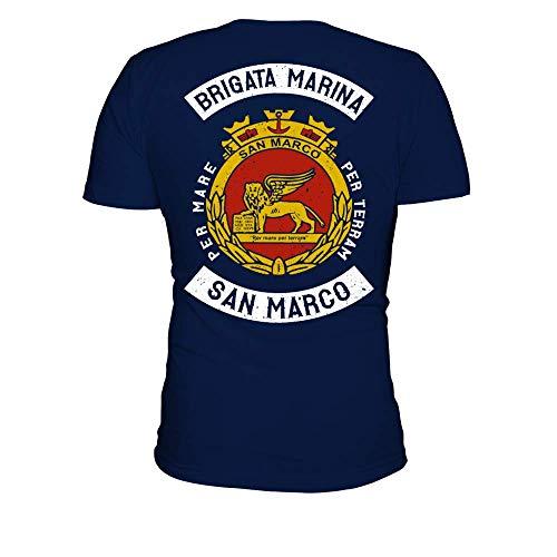 TEEZILY T-Shirt Scollo Tondo Uomo Brigata Marina per San Marco per terram San Marco - Blu Navy - M