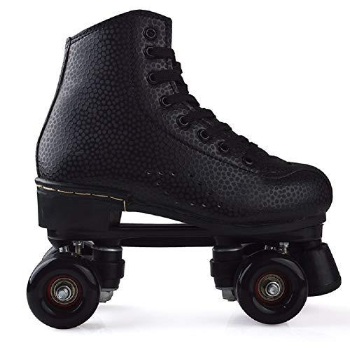 AMAZOM Retro Rollschuhe Disco Roll Skate Wie in Den 80Er Jahren Jugend Roll-Schuhe Kinder Skate,Schwarz,34