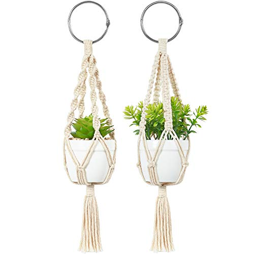 Mkono Mini Macrame Plant Car Accessories Rear View Mirrior Charm Cute Hanging Rearview Car Decor Boho Hanger with Artificial Succulent Plants Gifts for Plant Lover, 10 Inch, White
