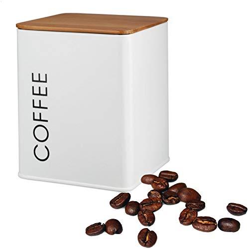 Kerafactum Kaffeedose mit Deckel | Dose für losen Tee Kaffee Zucker | Vintage Retro Style | Vorratsdosen Behälter aus Metall Cafe Bowl Zuckerdosen Teedosen in Weiss | Bambus Deckel Silkon Dichtung