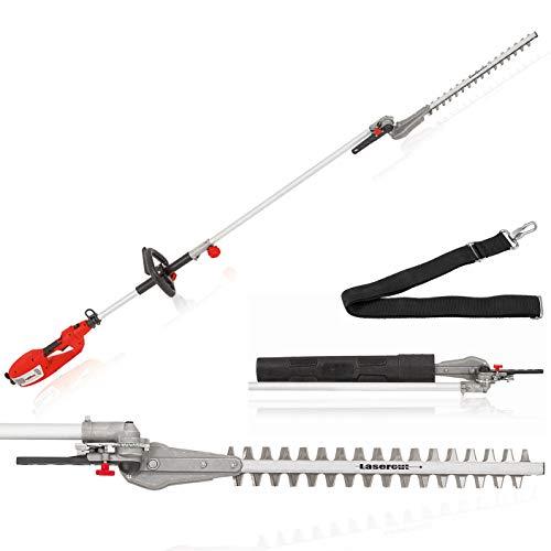 Grizzly Tools Langstiel Heckenschere EHS 900 W - Leistungsstärkste Langstiel-Heckenschere - 44cm Schnittlänge - 2,6m Länge - diamantgeschliffene Lasercut Messer mit Aluschiene