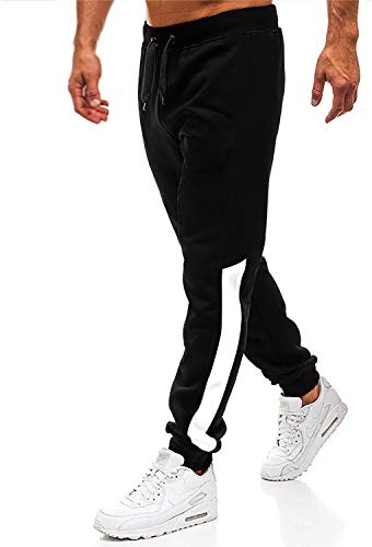 Herren Hosen Hose Sporthose Trainingshose Cargo Pants Jogginghose Sweatpants Jogger Mode Freizeit Laufen Streifen (Schwarz2, m)