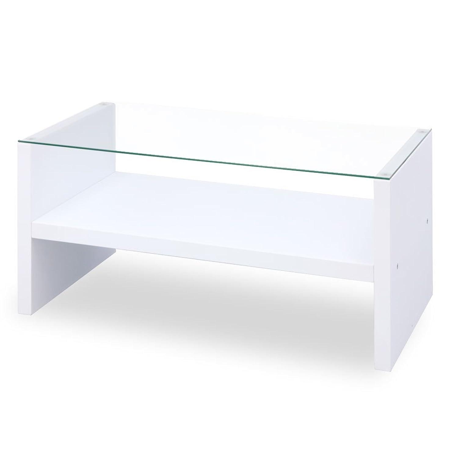疫病写真撮影チップぼん家具 幅90×高さ41.5cm 強化ガラス 棚付き 長方形 ガラステーブル ローテーブル 机 テーブル 座卓 木製 ホワイト