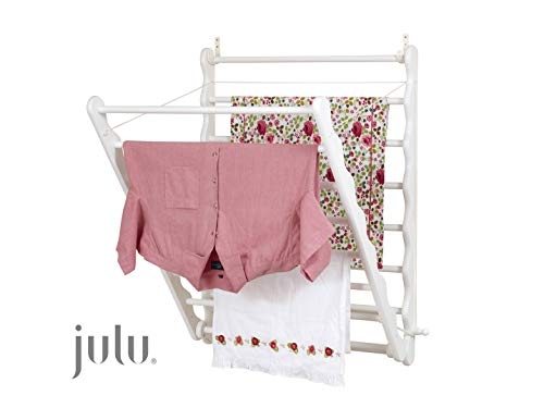 Julu Laundry Ladder Indoor Airer Wall Mounted Clothes Airer Wooden Clothes Airer | Doris Pine White