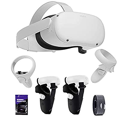 Oculus Quest 2 VR Headset 256GB Video, Advanced All-in-One Virtual Reality Gaming Headset, 3D Cinematic Sound, Bundled with TSBEAU Anti-Slip Protective Grip Cover Accessories Set