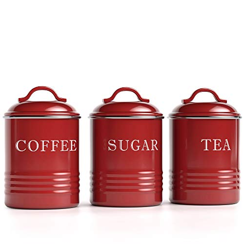 """Barnyard Designs Airtight Kitchen Canister Decorations with Lids, Brick Red Metal Rustic Farmhouse Country Decor Containers for Sugar Coffee Tea Storage (Set of 3) (4"""" x 6.75"""")"""