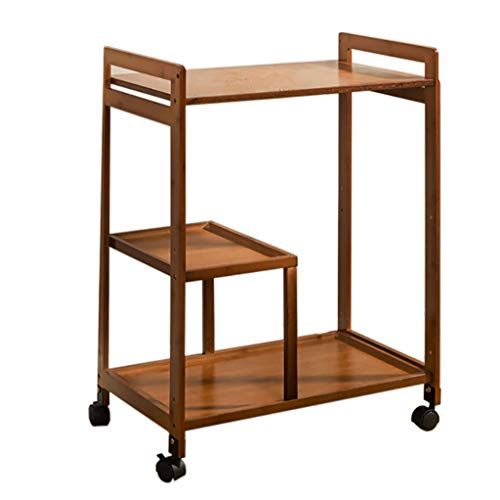 PENGJIE End Table Nightstands End Side Tables Patio Coffee with Bucket position with Rolling Casters Reversible Espresso Multipurpose for Small Space Side Table