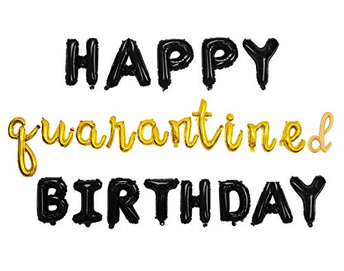 Happy Quarantine Birthday Balloon Decorations Banner Sign Backdrop Social Distancing Party Supplies Stay at Home Party Decor