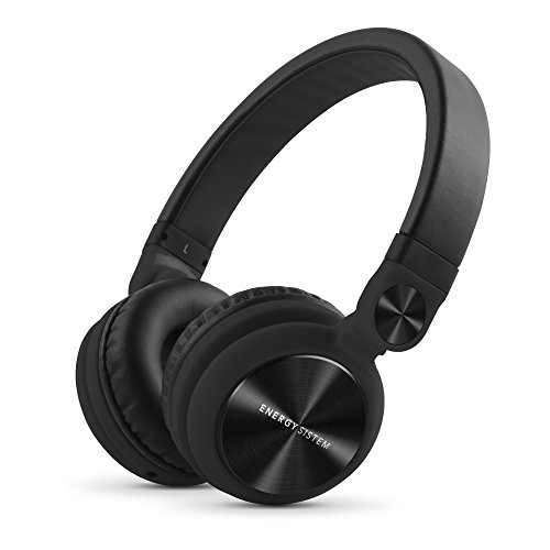 Energy Sistem Headphones DJ2 Black Mic (Auriculares Estilo DJ, Flip-Up Ear Cups, Removable Cable, Control Talk, Foldable)
