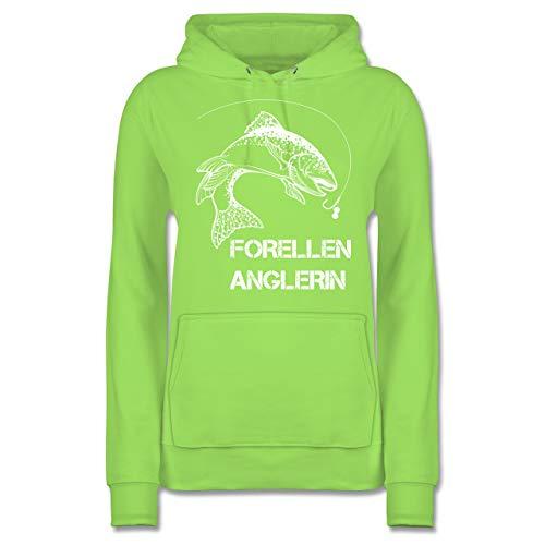 Angeln - Forellen Anglerin - weiß - XS - Limonengrün - Fisch - JH001F - Damen Hoodie und Kapuzenpullover für Frauen
