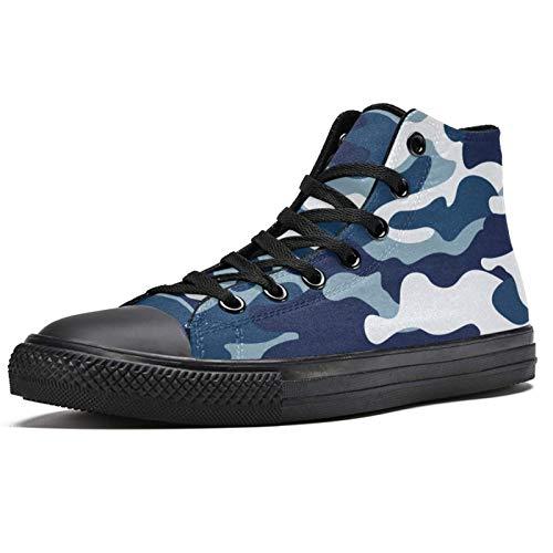 BENNIGIRY Patrón Camuflaje Colores Azul Marino Gris Cerúleo Textura Bosque Zapatillas de Deporte de caña Alta Zapatillas Deportivas de Lona para Mujer