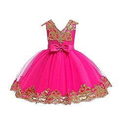 Sequin Bowknot Tutu Hot Pink Color Gown