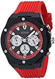 GUESS Men's Polycarbonate Quartz Watch with Silicone Strap, Red, 24 (Model: GW0268G2)