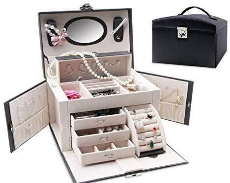 CS-SSH - Portagioie robusto portagioie da donna, per piccoli oggetti, multiplaid portaoggetti, orecchini, collana, gemelli, colore: nero, dimensioni: -)