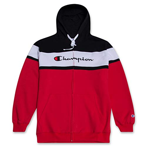 Champion Big and Tall Mens Color Block Full Zip Hoodie with Embroidered Logo Red/Black/White 2XT