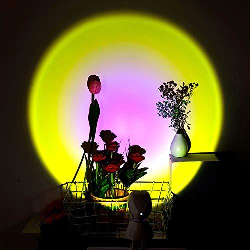 Lámpara de Proyección Sunset, Everpertuk Lámpara de Proyección LED, 360 ° Rotation, Carga USB y Plug-In, Interruptor Tactil, Rainbow Sunset Projection Foor Lamp, Lámpara de Proyección Arcoíris (C)