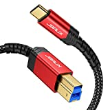 USB 3.0 Cable B Male to USB-C, JSAUX 10ft USB 3.0 Type B Cord Nylon Briaded Compatible with Docking Station, External Hard Drivers, Scanner and More