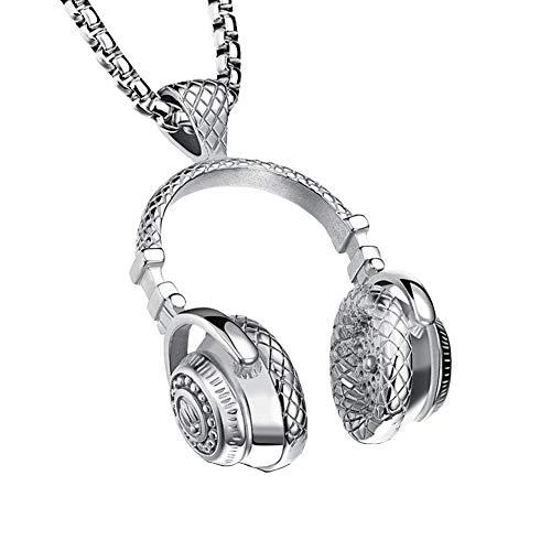 GuDeKe Acero Inoxidable Collar Colgante de Auriculares Joyas para Amantes de la música para los Hombres (Plata)