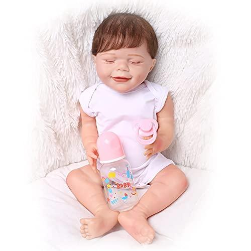 HLSH Bambole del Bambino rinato Bambola in Silicone Fatta a Mano Appena Nata Bambole del Bambino rinato Che sembrano Vere Bambole realistiche con Ciuccio Magnetico, Ragazza