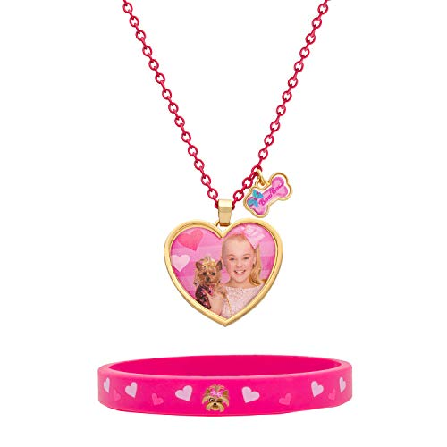 JoJo Siwa and Bow Bow Pink Bracelet and Heart Necklace Fashion Set, 16 + 2