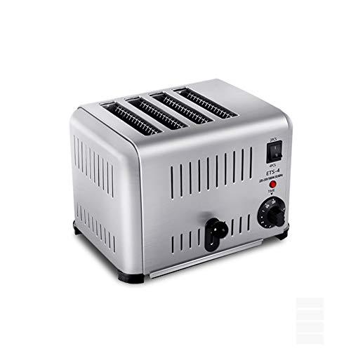Tostadora de 4 rebanadas de acero inoxidable, tostadora automática con bloqueo de color, con 5 bandejas de pan rallado que se cancelan y descongelan