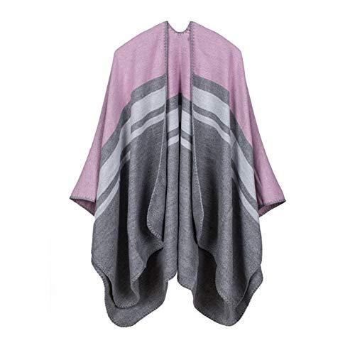 GAOHONGMEI Damen Oversized Poncho Schal Warm Open Front Wrap Cape Reversible Schal Damen Strickjacken 006-130 * 150 cm