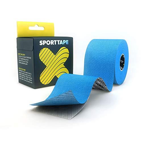 Extra klebriges Kinesiologie Tape - 5 cm x 5 m - BLAU - Hypoallergenes, Wasserdicht elastisch K-Band Kinesiotape Physio, medizinisches klebebänder für Muskelverletzungen, Unterstützung durch SPORTTAPE