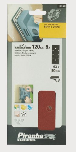 Preisvergleich Produktbild Piranha Schleifstreifen,  Körnung 120 (mittlere Körnung,  Klett-Fix,  Black+Decker,  5 Stück gelocht) X31522