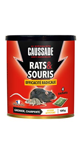 Caussade CARSC100 Rats & Sourics Efficacité Radicale - 4 Sachets Céréales - Hyper Appétent   Grenier et Charpente