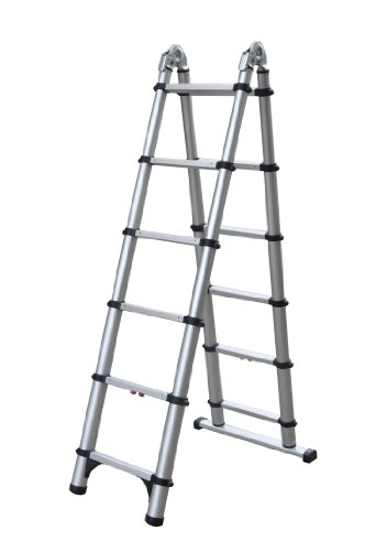 Telesteps 612TC OSHA Compliant 6 ft A-frame/12 ft Extension Telescoping Combi Ladder