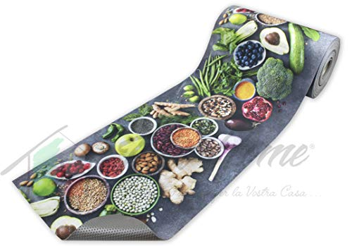 Passatoia Tappeto Runner da Cucina Fronte in Poliestere e Retro in PVC Antiscivolo Flessibile Stampa Digitale Made in Italy Larghezza 52 cm Lunghezza