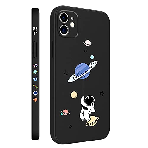SPOBIT Compatible with iPhone 11 6.1 Inch Case Fun Cartoon Astronaut Cute Star Space Phone Case, Soft TPU Silicone Shockproof Lens Protection Fashion Small Pattern Case for iPhone 11 - Black