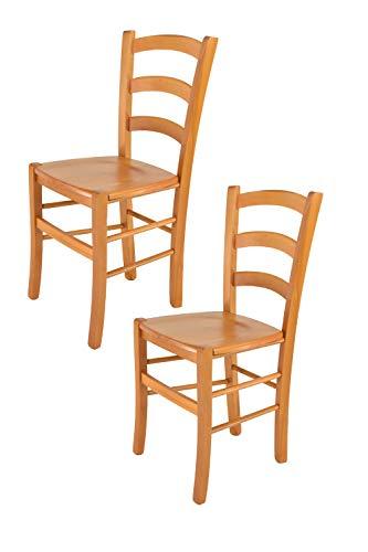 Tommychairs - Set 2 sillas Venice para Cocina y Comedor, Estructura en Madera de Haya Color Miel y A