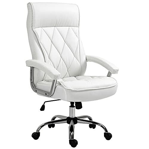 Vinsetto Chefsessel Bürostuhl Schreibtischstuhl Drehstuhl ergonomisch mit Wippenfunktion höhenverstellbar Rautenmuster modern elegant luxuriös PU-Leder Metall Schaumstoff Weiß 66x69x121 cm