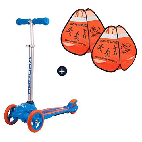 HUDORA Kinderscooter Flitzkids 2.0, blau mit Safety Pop Up Aufsteller Set Scooter Tretroller Dreirad Cityroller Roller Warnschild Kickroller
